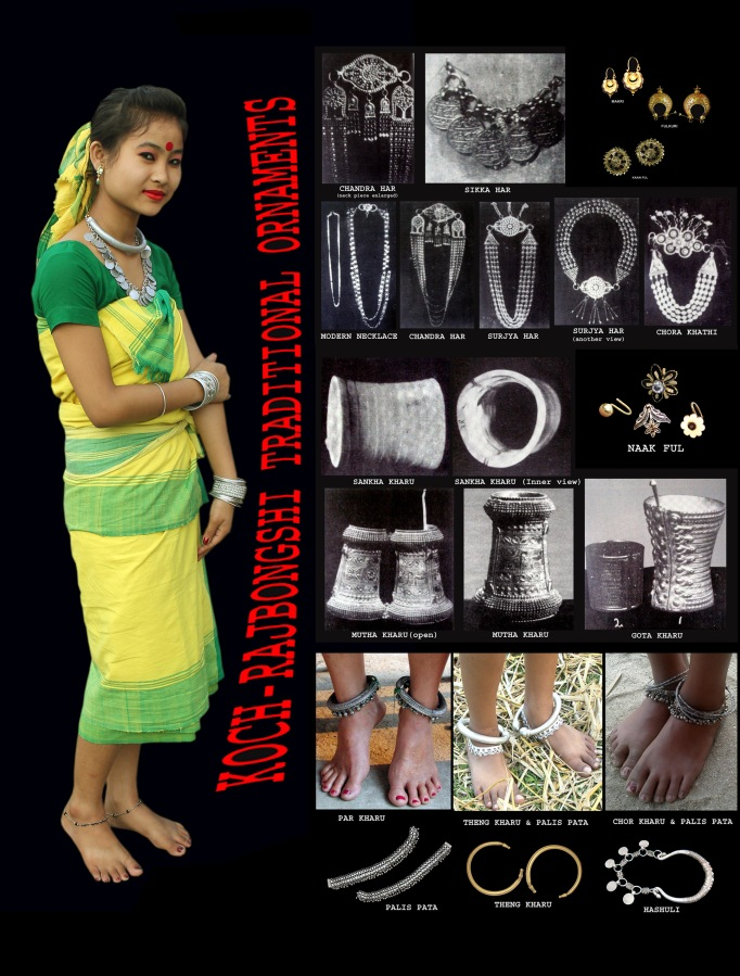 "Koch-Rajbongshi Traditional Costume: ""Patani""/ ""Phota"" is the traditional dress of a Koch-Rajbongshi woman. It is produced in handloom at home in different colours. According to Dr. Dipak Kumar Roy there are fifteen types of patani and they are Saishyaphuli, Ghuni, Dhala, Dhalakala, Bulukdhala, Maldoi, Toroiphuli, Chikonpair, Doraduri, Saada, Ghugupari, Chotapari, Suryapuri, Chotari and Guthaotha. This form of dress is antique and it is claimed that the reference of Patani is also available in the ancient book ""Manashakabya"" by Mankar in the anecdote of Behula and Lakshindar. According to Dr. C.C. Sanyal-""A Rajbansi woman is happy with Phota(Patani). This is a coloured cloth of Five cubits long and 2.5 cubits wide. This she ties just above the breast and it hang down up to the knees. The two ends of the Phota are not sewn together. It is an open cloth. Within the last 10 years Phota is going out of the market."" Angcha is the traditional dress of Koch-Rajbongshi gentleman. It is produced in handloom at home in different colours with 6 feet of length and 3 feet wide. Gamcha is a rectangular piece of cotton cloth produced in handloom specially yellow in colour. It has a great significance among the Koch-Rajbongshis which is traditionally regarded as a matter of practice and dignity and used as a towel. Pachara is a type of shawl used by both man and woman folk of Koch-Rajbongshis preparing it in handloom specially with cotton or Eri silk yarn. Besides these some other traditional attires of Koch-Rajbongshis are- Dagla, Parna, Khetar-parna, Kheta, Kabwos-kapur, , Andee-pachara Urna, Jol-gamcha etc. Ornaments of Koch-Rajbongshi women: The Koch-Rajbongshi women of Assam, West Bengal, Bihar, Nepal and Meghalaya do wear some extraordinary ornaments of different designs in different parts of the body such as-ear, nose, neck, wrist, waist, arm, ankle, finger,toe etc. along with their traditional attires in order to get better the personality and attractiveness. These ornaments are basically made of gold, silver, copper, Brass, shell etc. These are as follows. Ornaments of wrists & arms(Bracelet): Bala,Kharu,Bauti,Kangkon,Gajora,Sompanji,Baju, Baas Patari etc. Ornaments of neck(Necklace): Suryahar,Siklihar,Chandrahar,Machihar, Kathimalahar,Sikahar,Takachara,Madhumala,Kuchiyamarhar,Hashuli, Kathikalamala,powalmala,gotmala,Monihar,Chick,Gajmatihar,Kawasmala,Dulalimala, eshahar etc. Ornaments of nose: Phul, Nelok, Notho, Solia Notho, Bali, Phurkuri, Nataya, Naakdhosa etc. Ornaments of ears: Onti, Makri, Machipat, Guji, Chaki, Kaanbali,Shatkori, Faasti,Khirol,Paasha, Chokia etc. Ornaments of waist: Got, bat etc. Ornaments of ankles(Anklet): Theng kharu, Baagh kharu, Paar kharu, Char kharu, Mol, Powpata Ornaments of fingers & toes: Aangti, Paiso, Pajor, Panja etc."